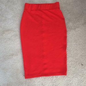 Dresses & Skirts - ‼️Final Price‼️Red/Orange ribbed Pencil skirt!